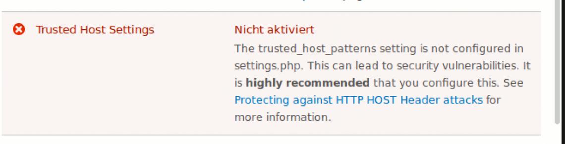 Drupal 8 Trusted Host Settings Warning
