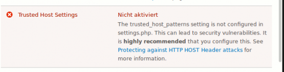 Drupal 8 Trusted Host Settings Warning